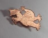 Copper dragon brooch