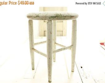 ON SALE Antique Stool, 1940's Chippy White Milking Stool, Antique Farmhouse, Primitive Collectible Stool,Display-Plant Stand, Rustic Home De