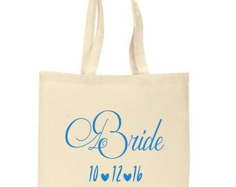 Personalized Bride Tote Bag with wedding date Canvas Tote Bag Bridal Shower Tote Bag Bride Bag Bridesmaid Gift Wedding Favor Tote Bags