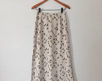 cloudy gray maxi skirt | rose print side slit semi sheer skirt