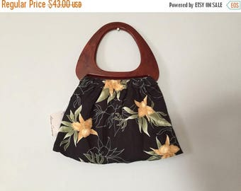 25% OFF SALE ... vintage lucite handle purse | 60s orchid print fabric tote