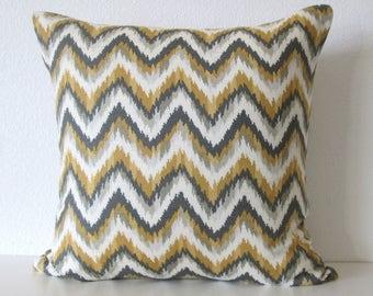 Nate Berkus Ahmar Citrine zig zag ikat yellow gray decorative designer pillow cover