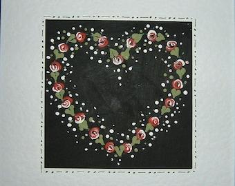 Folk art Hand painted greetings card (ref 470)