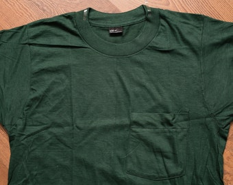 NOS BVD Pocket T-Shirt, Unworn Tee, Dark Green, Blank, Vintage 80s