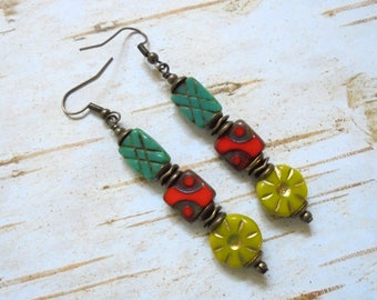 Teal, Red, Chartreuse Green and Brass Boho Earrings (3589)