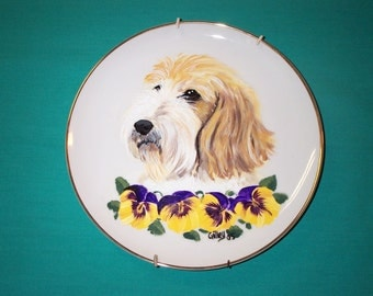 PBGV Dog Plate PBGV Hand Painted Plate by Hot Diggity Dog Fabrics