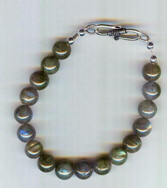 Mens / Unisex FLASHY Labradorite Rounds Beaded Bracelet or Necklace