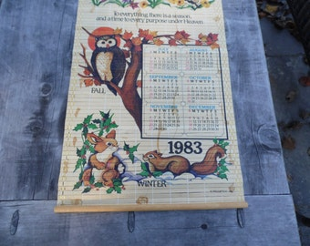 Calendar vintage reversible wooden wall scroll 1983 calendar with 1983 calendar on one side and beautiful design on the other
