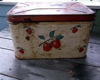 Vintage Metal Vented Bread Box with Red Lid and Apples design Decorware Rusty Crusty Perfection