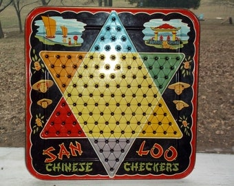Vintage Metal Chinese Checkers Board Lid only San Loo Chinese Checkers Marbles Game tray