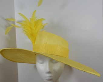 Kentucky Derby Sinamay Hat in Yellow with Feathers