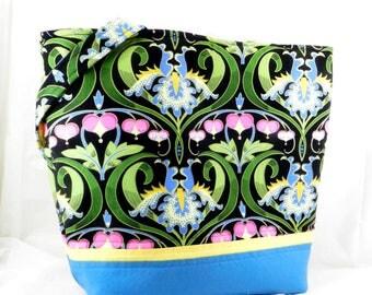 Handmade Library Bag, Shoulder Bag, Jane Sassman, Blue Iris, Black and Blue, Large Handmade Purse, Large Tote Bag, Large Work Bag