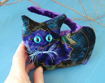 Collectible velvet kitten, Purple/blue, keepsake kitten, Up-cycled Lavender Kitten, lavender scented, cat lover gift