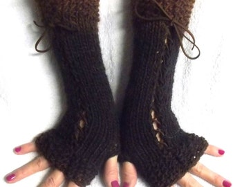 Hand Knitted Fingerless Gloves Copper Dark Coffee  Brown Shades Corset  Arm Warmers Variegated for Women Victorian Style