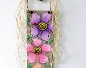 Purple, Pink and Peach Flowers, Funky Colorful Flowers, Barn Wood Sign, Hand or Tole Painted, Rustic Barn Wood,Reclaimed Barn Wood,Lady Bugs