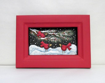Red Cardinals on Evergreen Branch, Winter Setting Art, Hand or Tole Painted, Hand Crafted Wood Frame, Reclaimed Wood Frame, Hanging Art
