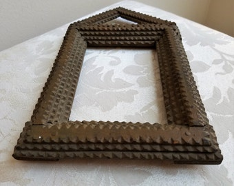 Vintage Tramp Art Carved Wood Picture Frame, Layered Notched Peaked House Shape, Collectible Folk Art