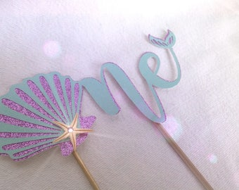 Shell Cake Topper. First Birthday Cake Topper, Under the Sea Cake Topper. One Mermaid Birthday Cake Topper with starfish