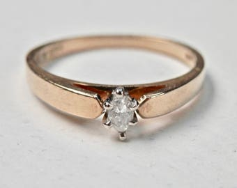 Vintage Diamond Ring Vintage Engagement Ring Gold Wedding Ring 10K Gold Marquise Cut Stone Size 7-1/4 Ring 10KT Yellow Gold Hallmarks