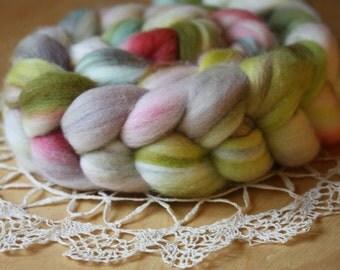 "Hand Dyed Top / Moss Peach Sky Blue Grey White / ""Creature"" / Merino Wool Spinning Fiber 3.15 oz / NEW"