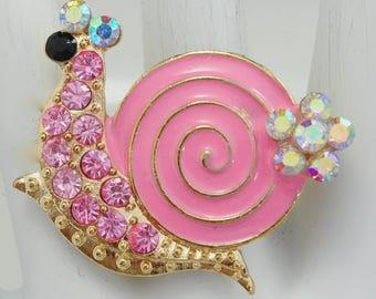 Pink Snail Statement Ring/Rhinestone/Aurora Borealis/Sea Animal Jewelry/Beach Jewelry/Summer Jewelry/Gift For Her/Adjustable/Under 20 USD/