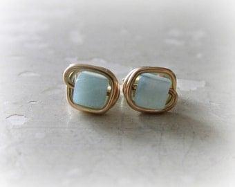 Cube Stud Earrings, Square Earrings, Gold Post Earrings, Amazonite Studs, Stone Stud Earrings, Aqua Stud Earrings, Gold Stud Earrings
