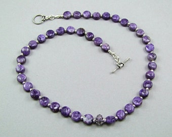 Charoite Sterling Silver Necklace - N128