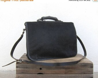 15% Off Out of Town Sale Black Pony Hair Satchel Briefcase Messenger Black Italian Leather Travel Laptop Bag