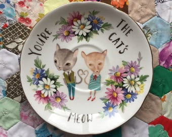 Love Cats You're The Cats Meow Colourful Daisies Vintage Illustrated Plate