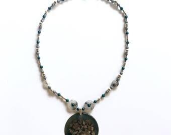 Teal Metallic Beaded Necklace