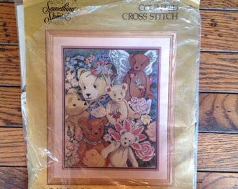 "Vintage 1990's Candamar Teddy Bear Collage Counted Cross Stitch Needlecraft 14"" x 18"""