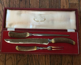 Vintage Real Stag Horn Cutlery Set Lewis Rose Sheffield England