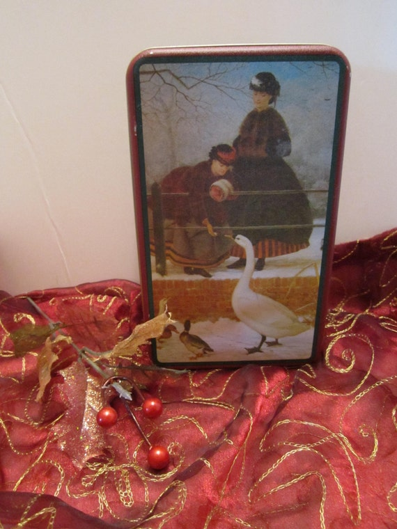 Victorian Scene Tin - Ladies Feeding Geese in Winter - House of Lloyd 1992 - Home Decor Storage Tin - Gift Tin - Cookie Candy Tin