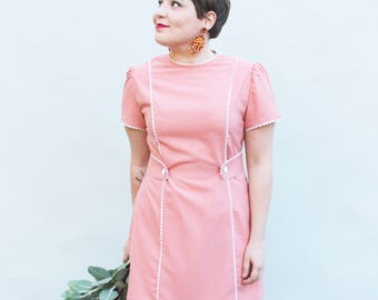 Pink Scallop Shift Dress - Handmade by Alice - Only 4 available!