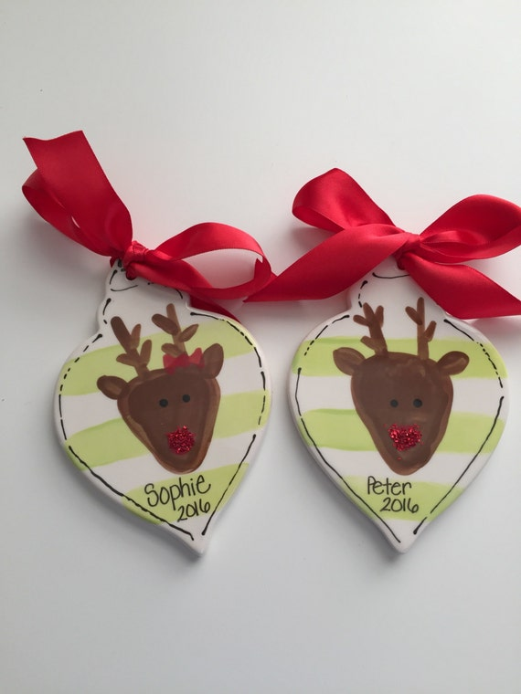 Personalized reindeer Christmas ornament,  Reindeer ornament, Boy Christmas ornament, Girl Christmas ornament, personalized ornament