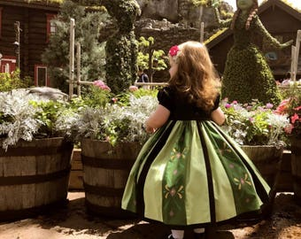 Toddler-Girls Anna Coronation Costume Ball Gown Hand Painted Skirt Panels-Hand Embroidered Bodice, Embellished Cape and Ruffle Hoop Skirt