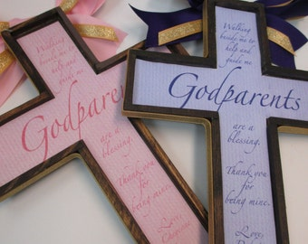 GIFT SET of Godparent Crosses Set to Honor a Birth