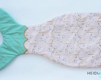 pink gold and aqua mermaid tail quilt blanket -  blankie sleeping bag
