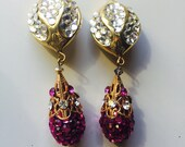 SHOWGIRL - SHOW STOPPING - Gold, Crystal and Pink hand- stoned drop clip earrings