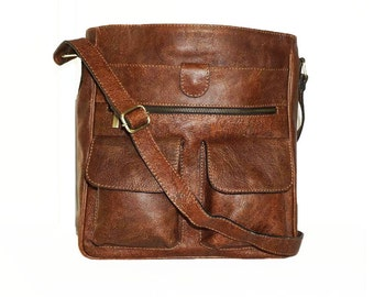 """11"""" Laptop Distressed Leather Messenger Bag Iris // Leather Cross-body Bag in antic brown"""