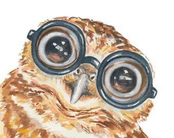 Owl Watercolor Painting - 8x10 PRINT, Animal Watercolour, Nerd Owl, Baby Animal, Thick Glasses, Owlet