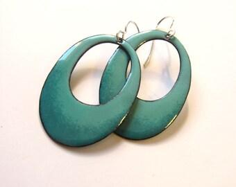 Green enamel hoop earrings Big turquoise teal oval dangles Bohemian enameled jewelry Niobium or silver wires