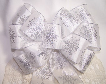 Silver Snowflake White Ribbon Bow - Handmade, Great for Wreaths, Holiday, Christmas & Winter Decor Decoration Winter Wedding Pew Bow