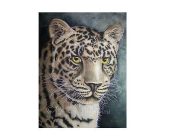 Stare Down- Jaguar Watercolor Print Wild Cat Leopard Tiger Lion Wildlife Painting ART Reinecke