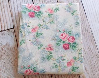 Vintage Twin Flat Sheet /  Pink & Blue Rose Floral / Dan River / Vintage Sheets