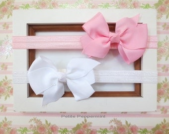 Set of Two Pink and White Baby headband, baby girl headband, newborn headband, toddler headband, Baby headband bow, girl hair bow