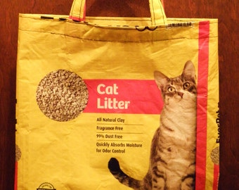 NEW LOW PRICE, EverPet Cat Litter Tote,  Recycled Repurposed  Upcycled Tote Bag