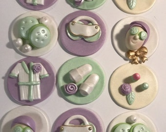 Fondant Spa Day Cupcake, Cake, Cookie Toppers. Includes 12