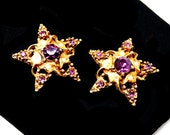 Vintage Star Scatter Pins - Petite Stars with Purple Rhinestones - Florenza Style - Whimsical Gold Tone - Vintage 1950's 1960's Era