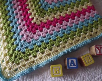 Crocheted Classic Style Granny Square Baby Blanket Pink yellow aqua blue and Green